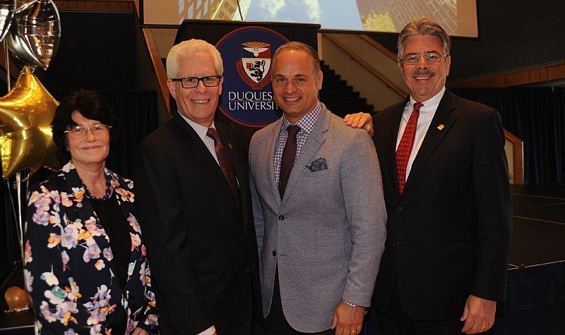 Dr. Mary McKinney , Dr. Dean McFarlin , Michael DelGrosso , and President Ken Gormley (Pictured left to right)